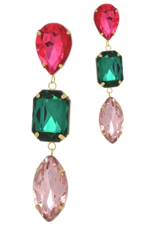 Brinco Le Diamond Cristais Multicoloridos