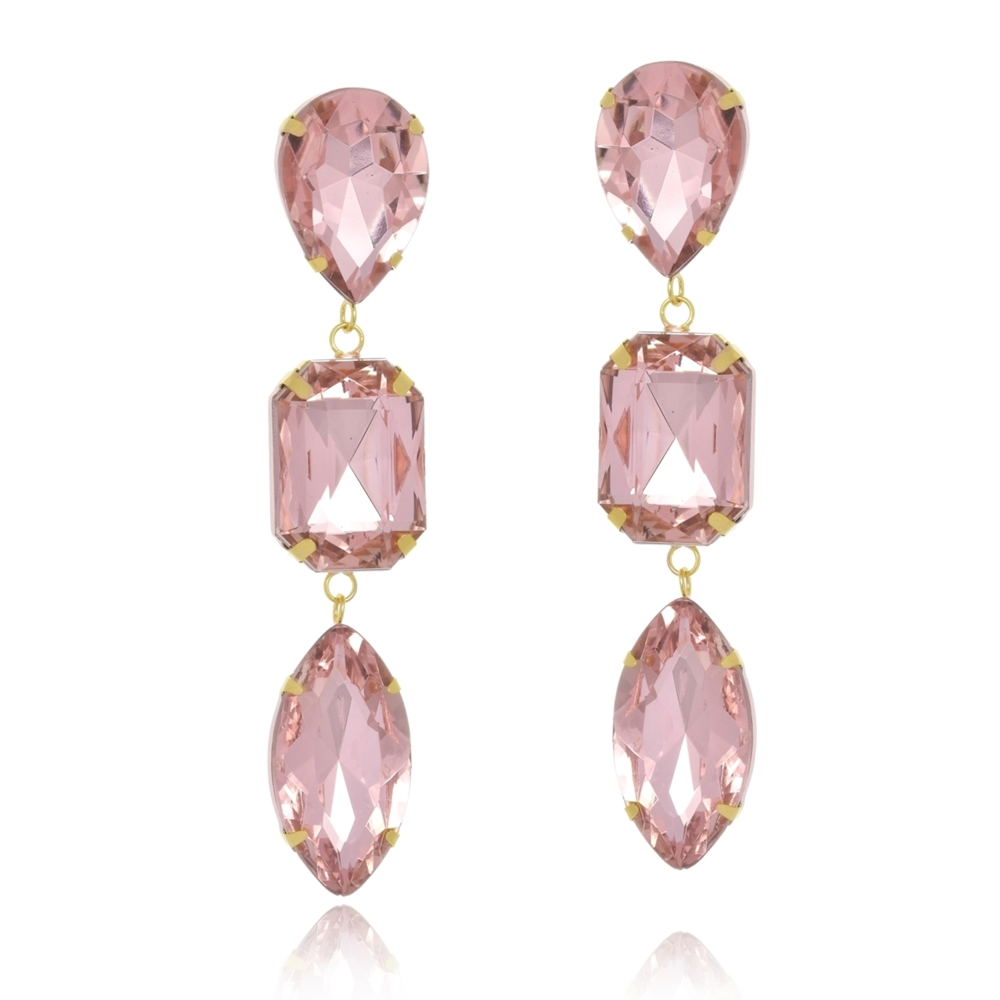 Brinco Le Diamond Cristais Rosa