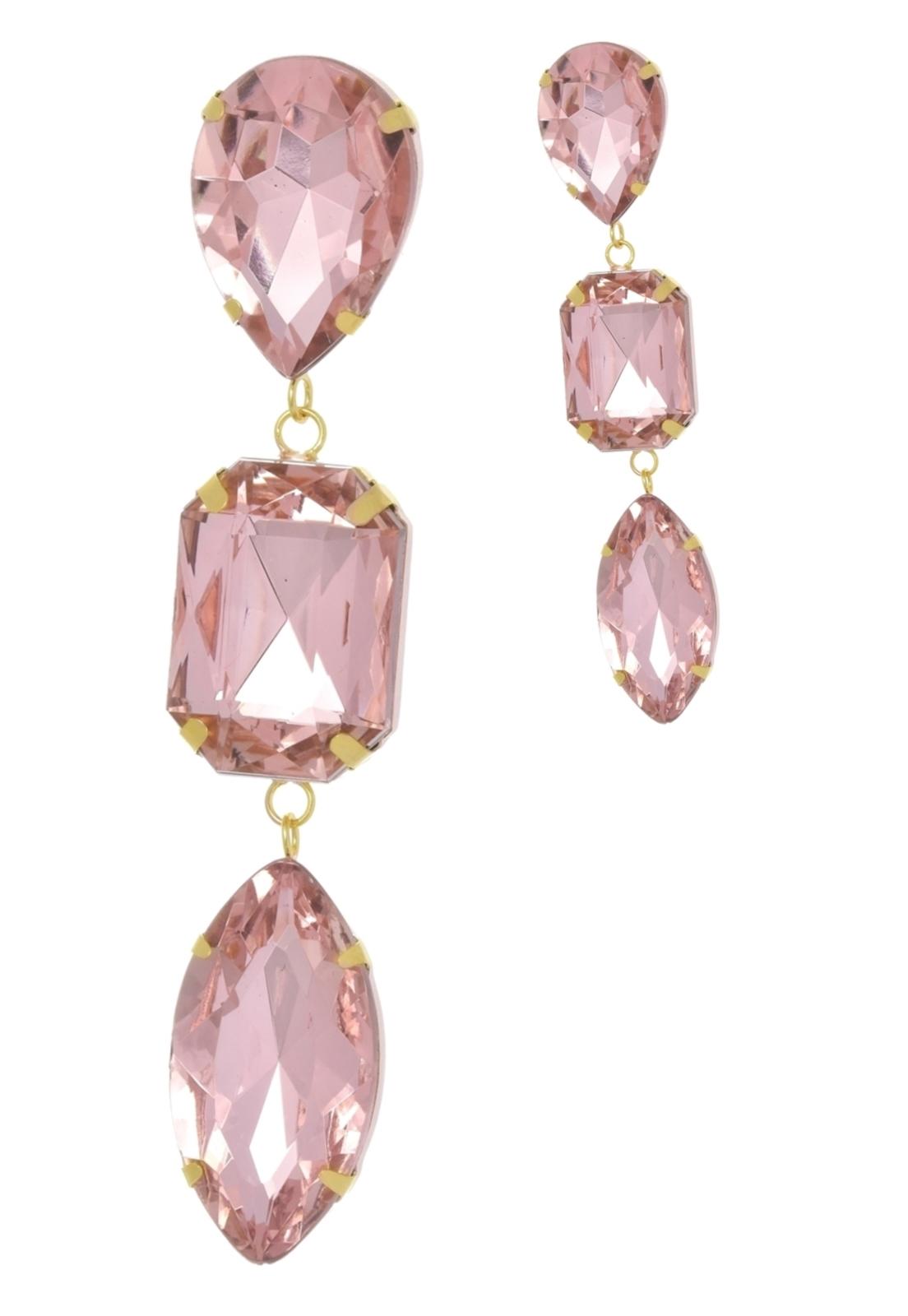 Brinco Le Diamond Cristais Rosa