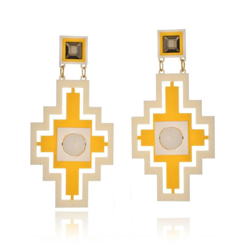 Brinco Le Diamond Cruz Geométrica Amarelo