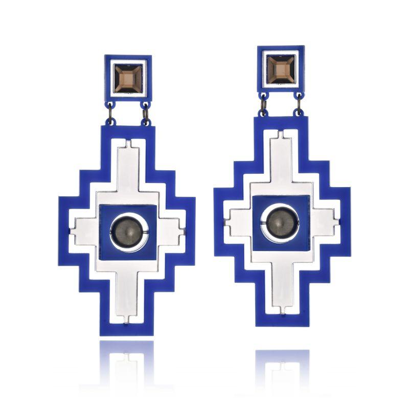 Brinco Le Diamond Cruz Geométrica Azul
