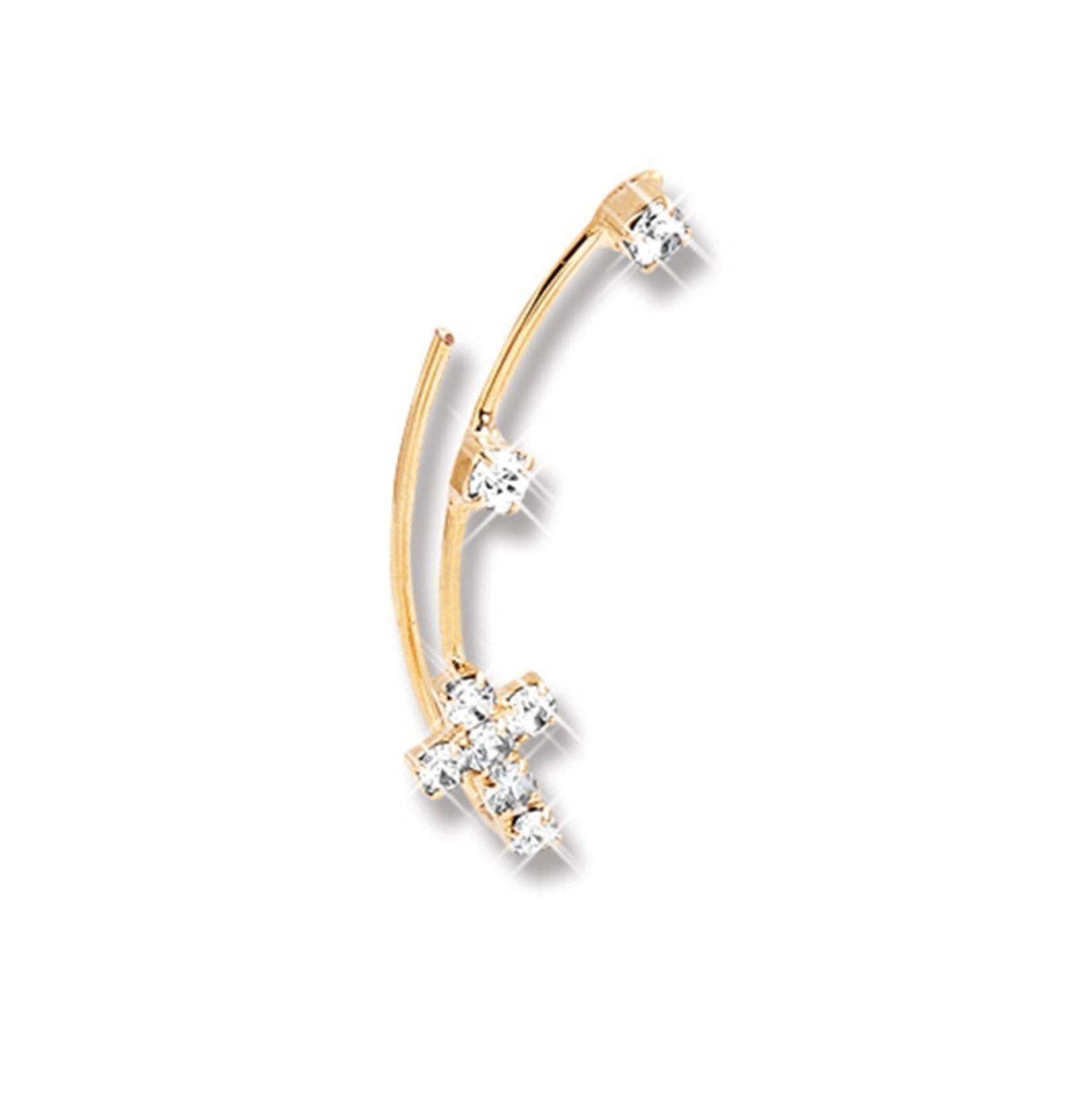 Brinco Le Diamond Ear Coff Cruz e Zircônias Dourado