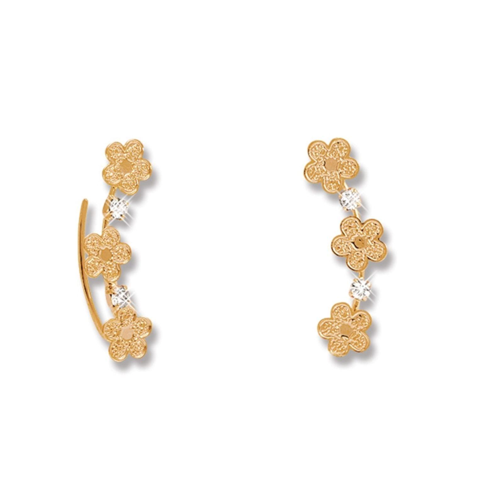 Brinco Le Diamond Ear Cuff com Flores Dourada