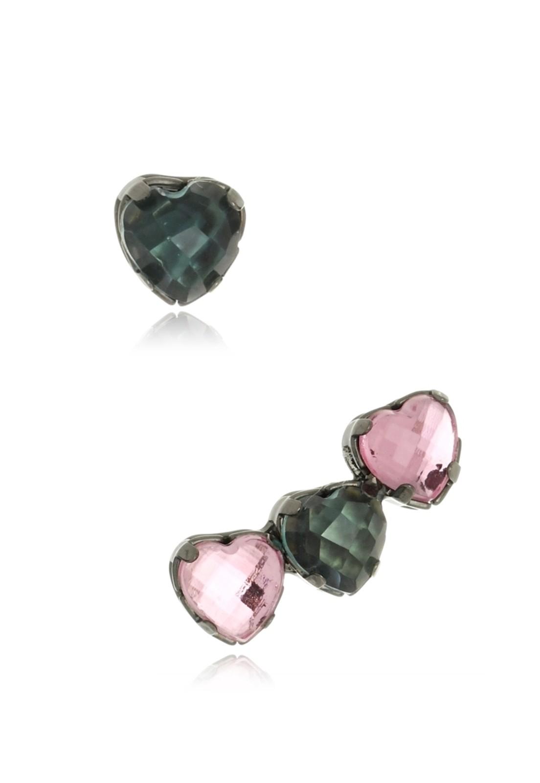 Brinco Le Diamond Ear Cuff Corações Cinza e Rosa