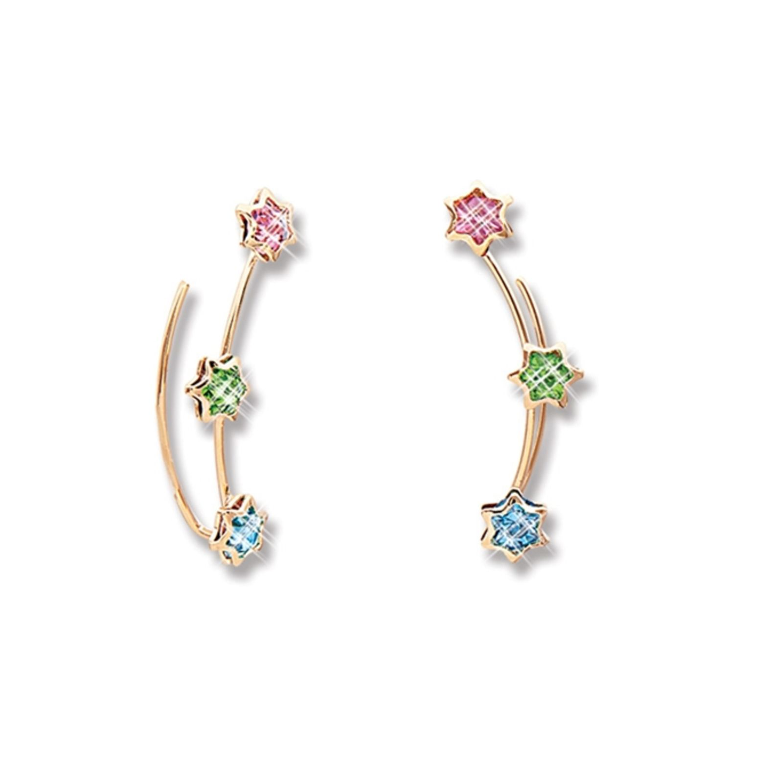 Brinco Le Diamond Ear Cuff Dourado com Estrelas Coloridas