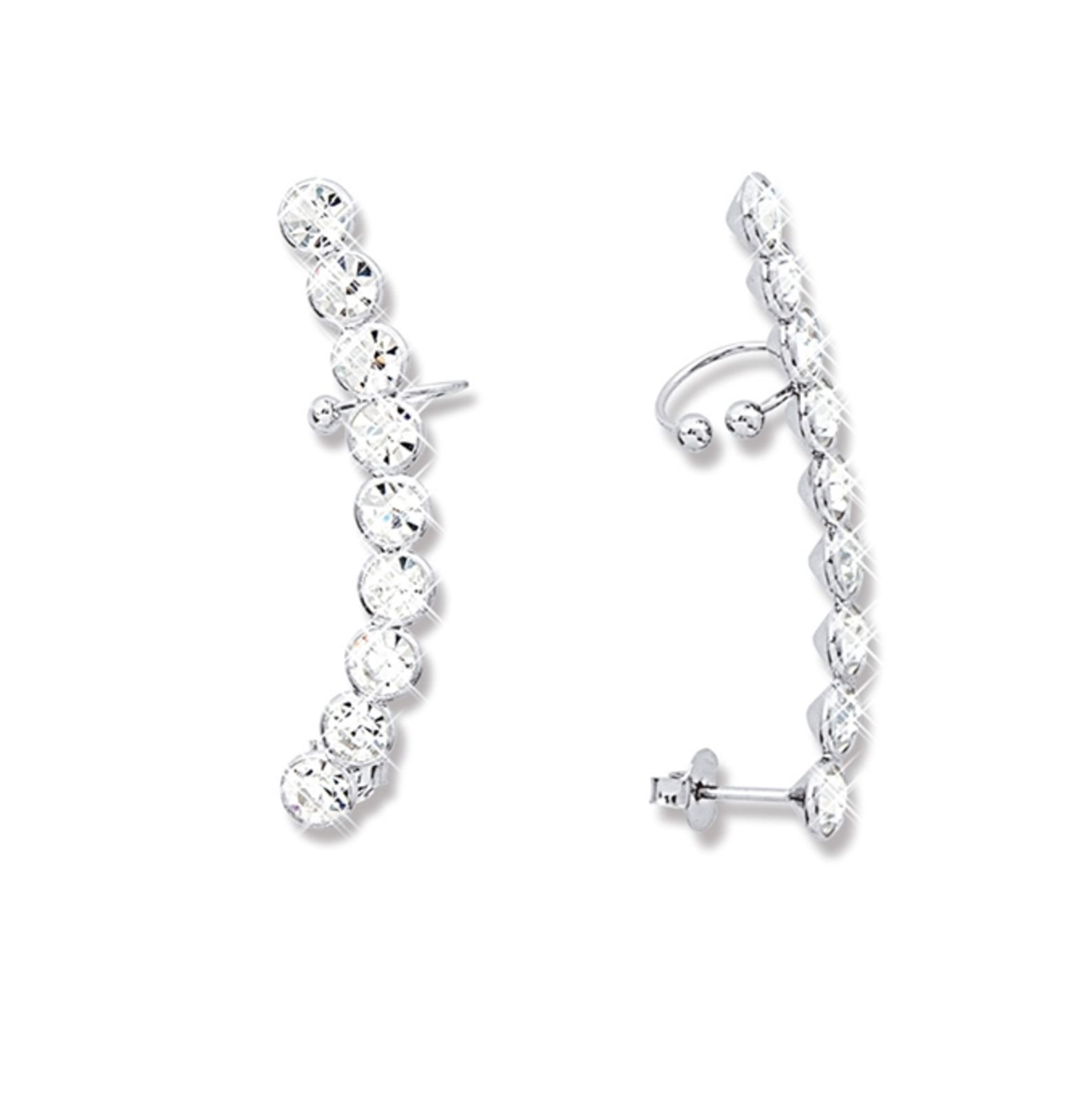 Brinco Le Diamond Ear Cuff Prata com Strass