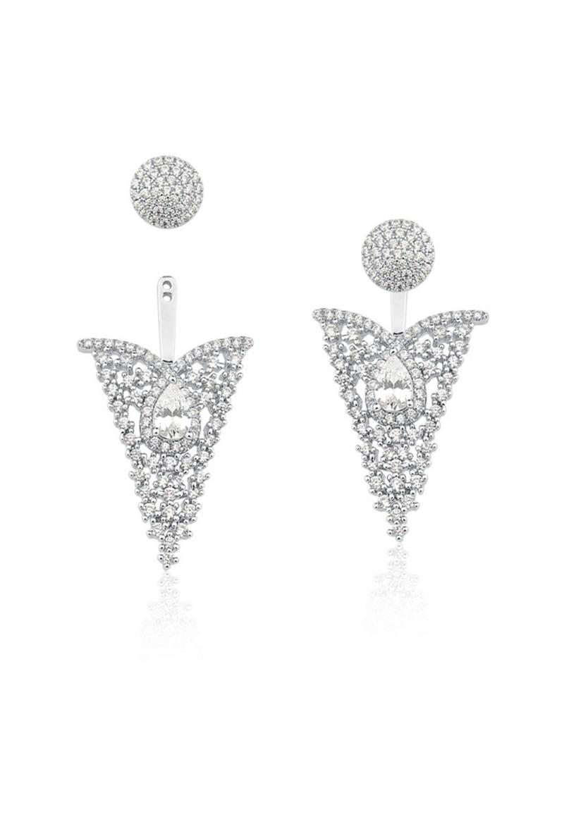 Brinco Le Diamond Ear Cuff Triangular Prata