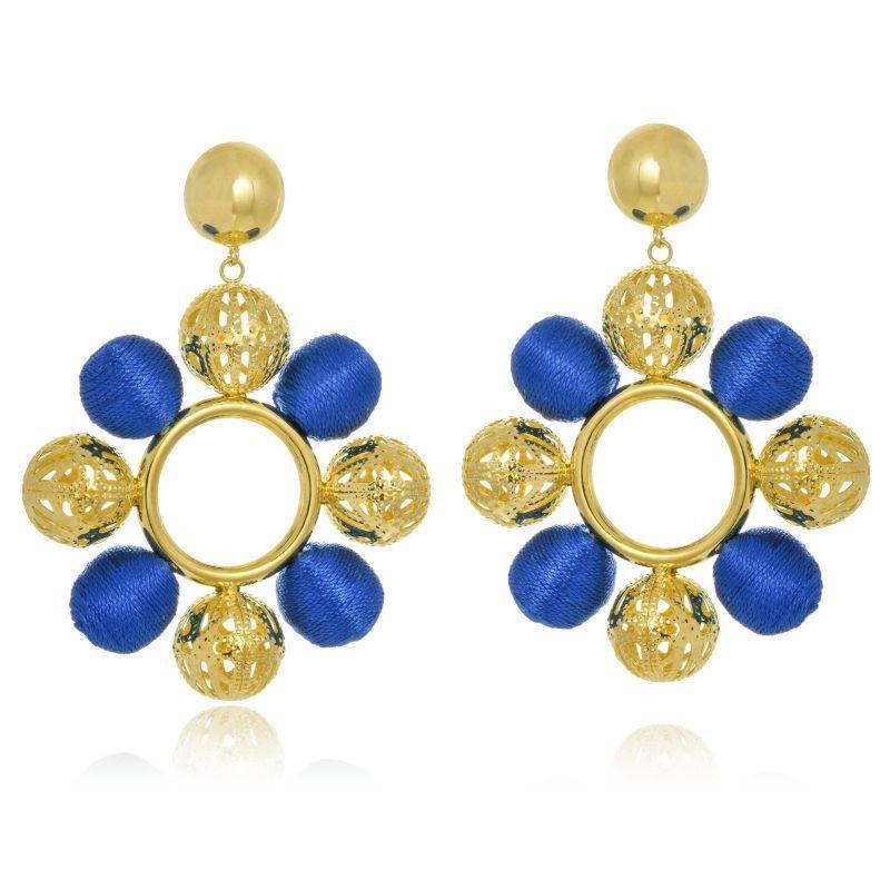 Brinco Le Diamond Esferas de Fio de seda Azul