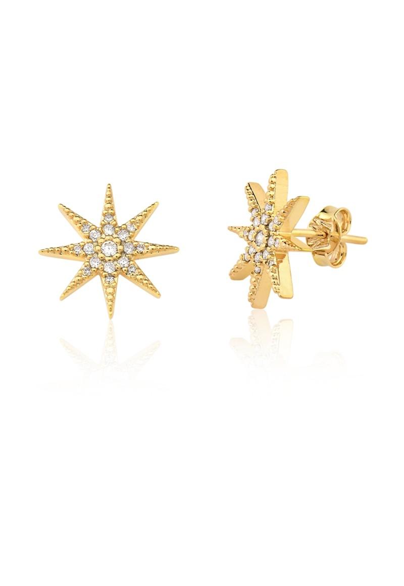 Brinco Le Diamond Estrela com Zircônia Grande Dourado