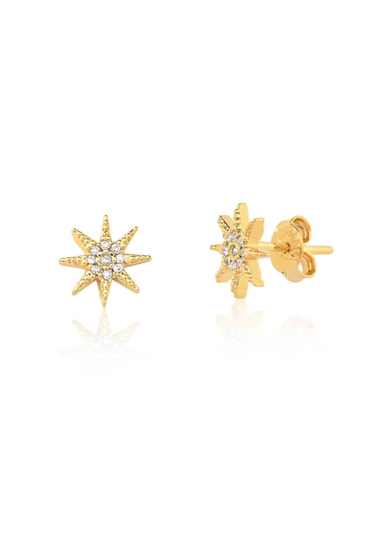 Brinco Le Diamond Estrela com Zircônia Pequeno Dourado