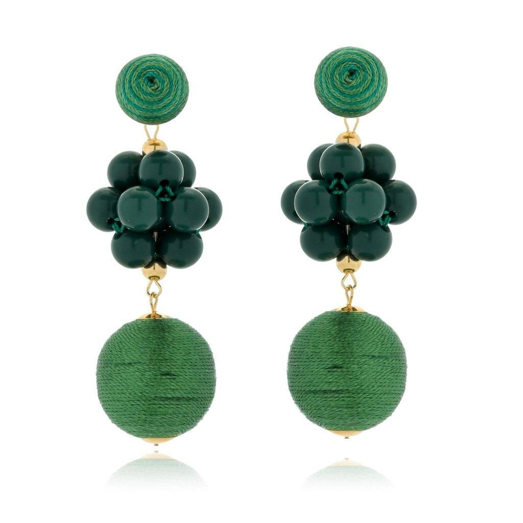 Brinco Le Diamond Fios de Seda e Cacho de resinas Verde