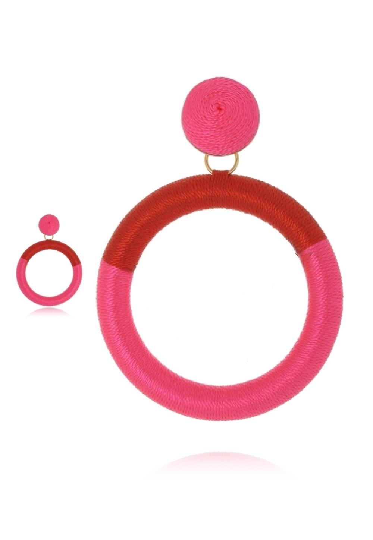 Brinco Le Diamond Fios de Seda Vermelho e Rosa