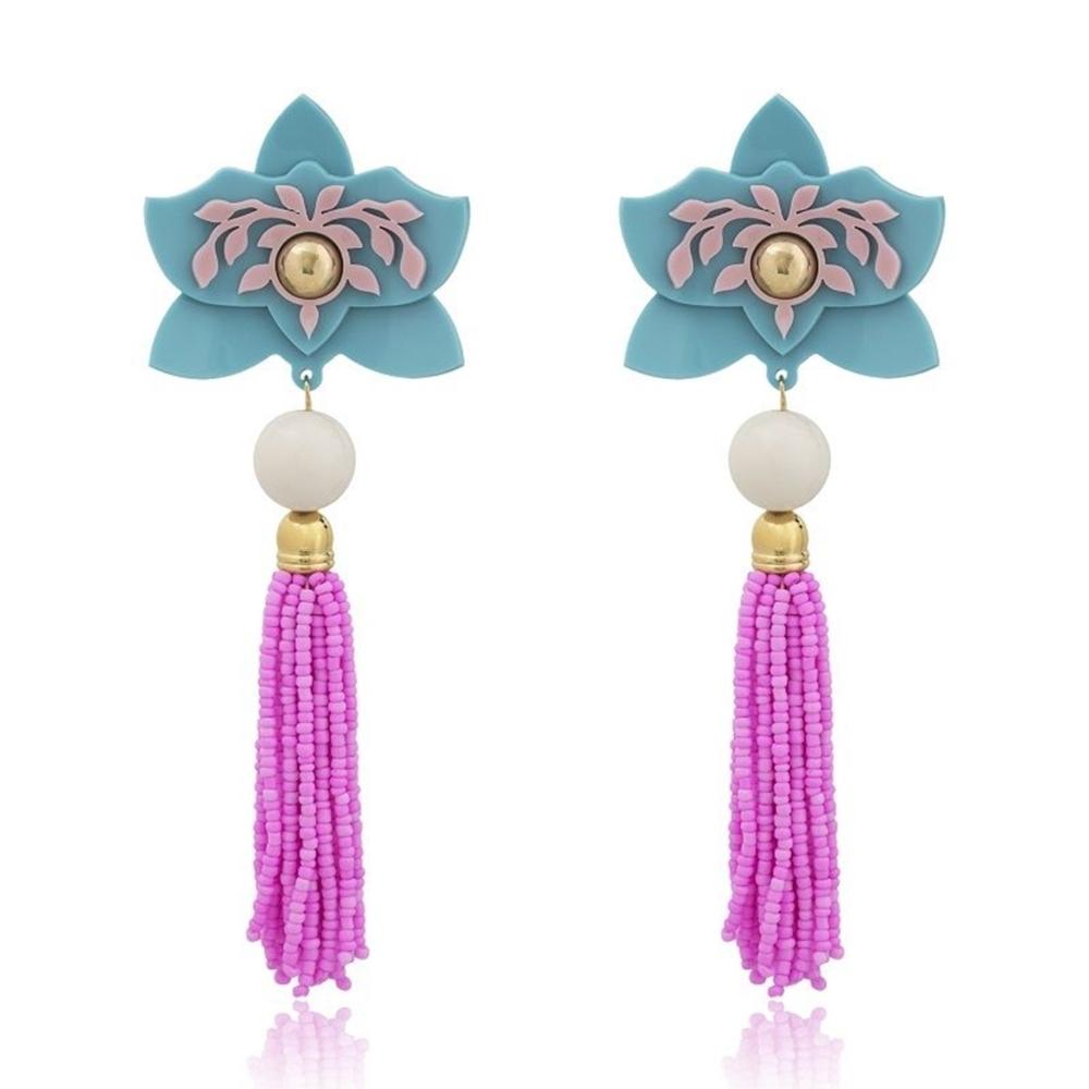 Brinco Le Diamond Flor Azul e Rosa Miçangas