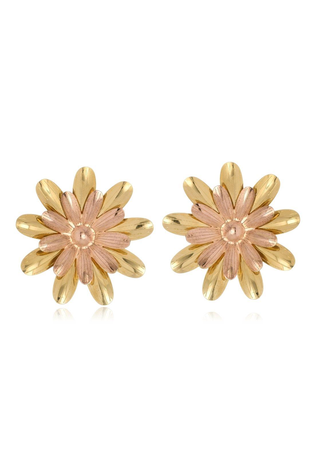 Brinco Le Diamond Flor Botão de Ouro Rosê