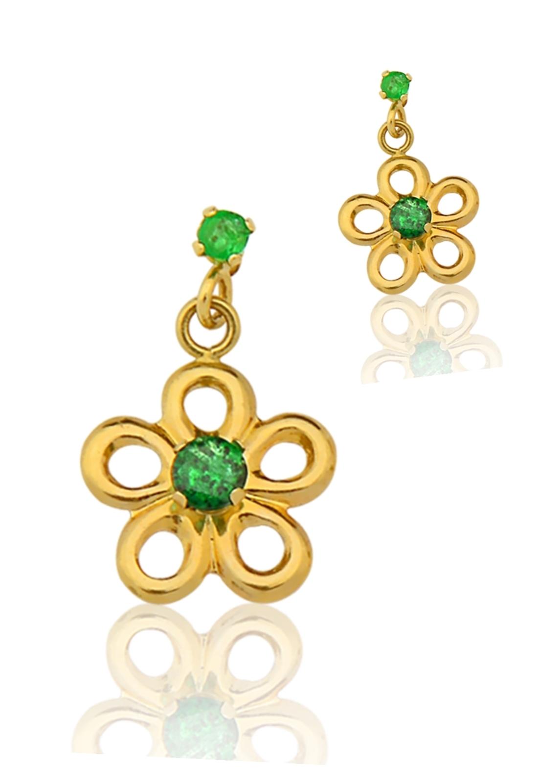 Brinco Le diamond Flor de Ouro 14k com Pedras Verde Esmeralda