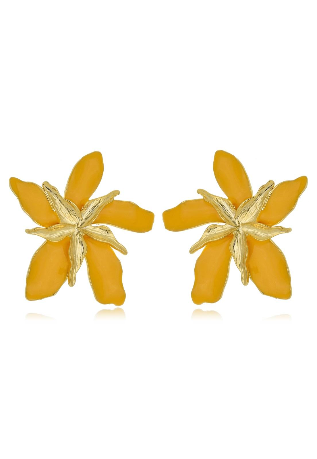 Brinco Le Diamond Flor Dupla Esmaltada Amarelo