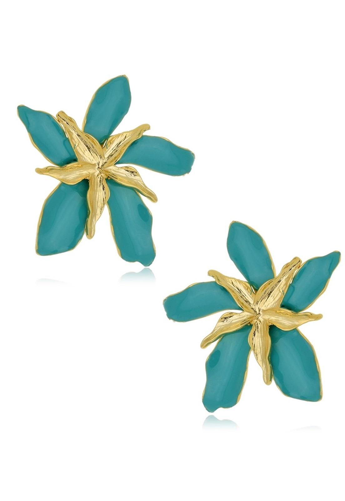 Brinco Le Diamond Flor Dupla Esmaltada Turquesa