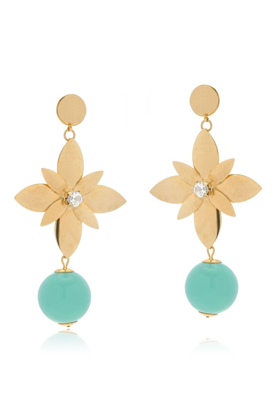 Brinco Le Diamond Flor e Cristal Dourado