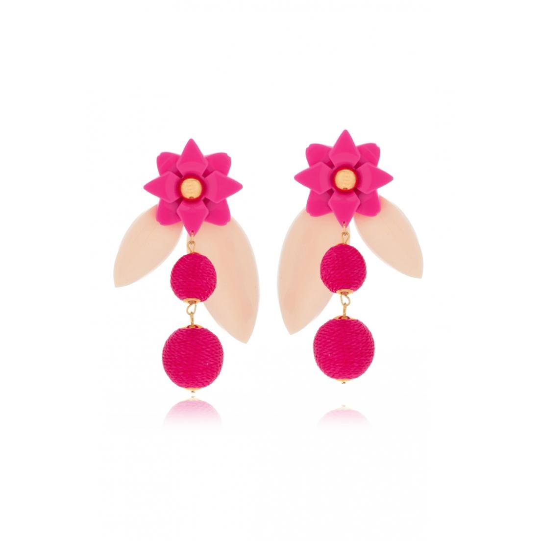 Brinco Le Diamond Flor e Esferas Rosa
