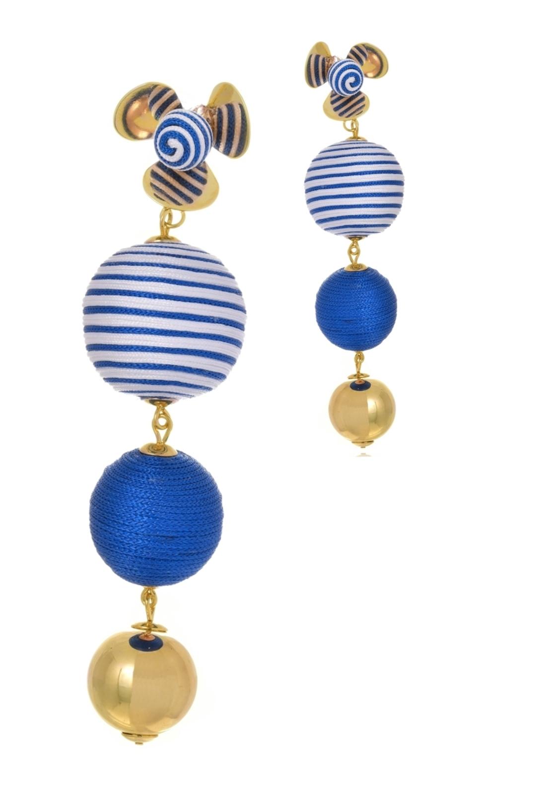 Brinco Le Diamond Flor e Esferas Seda Azul