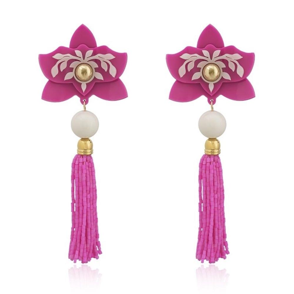 Brinco Le Diamond Flor e Miçangas Pink