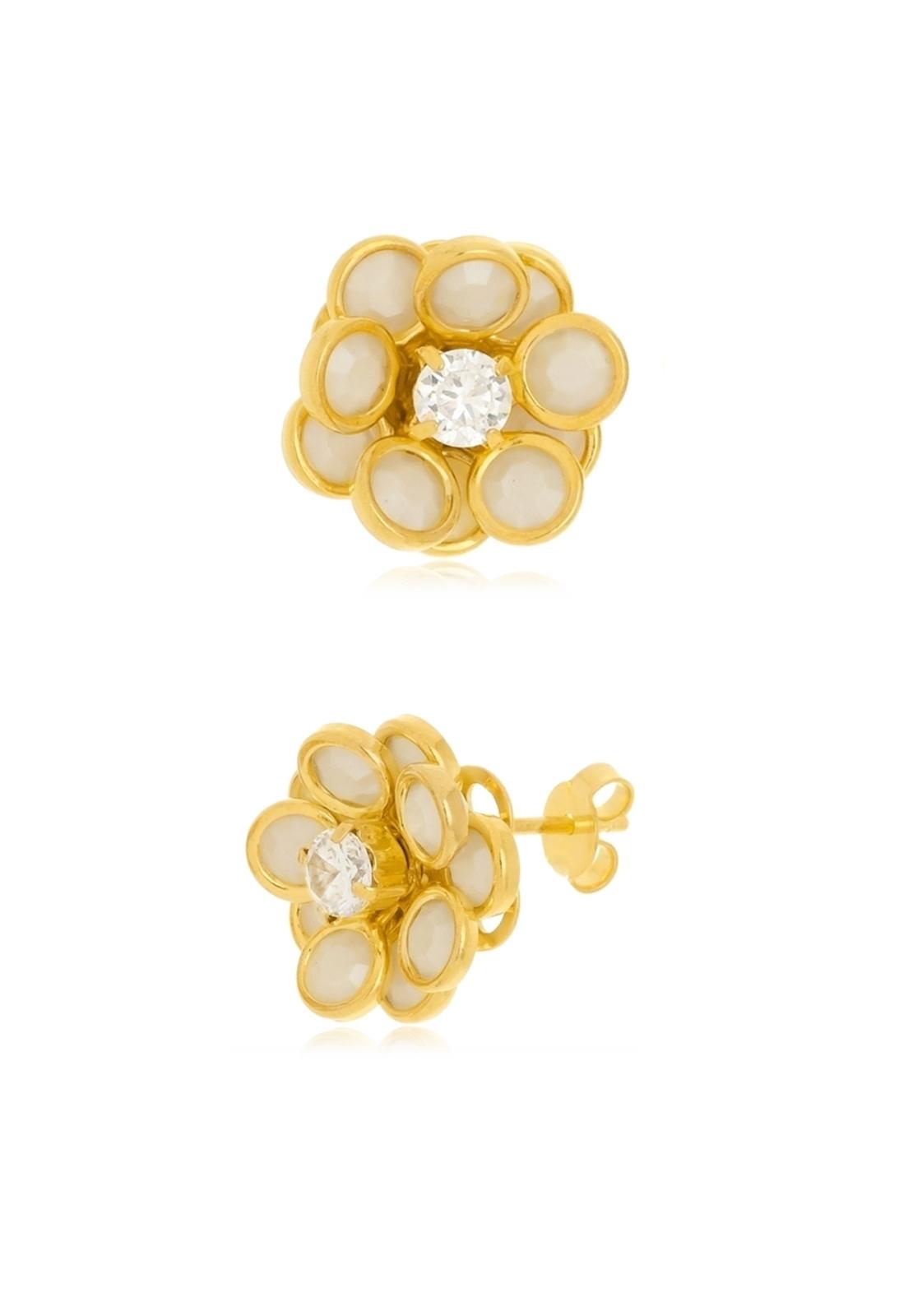 Brinco Le Diamond Flor Madrepérola Dourado