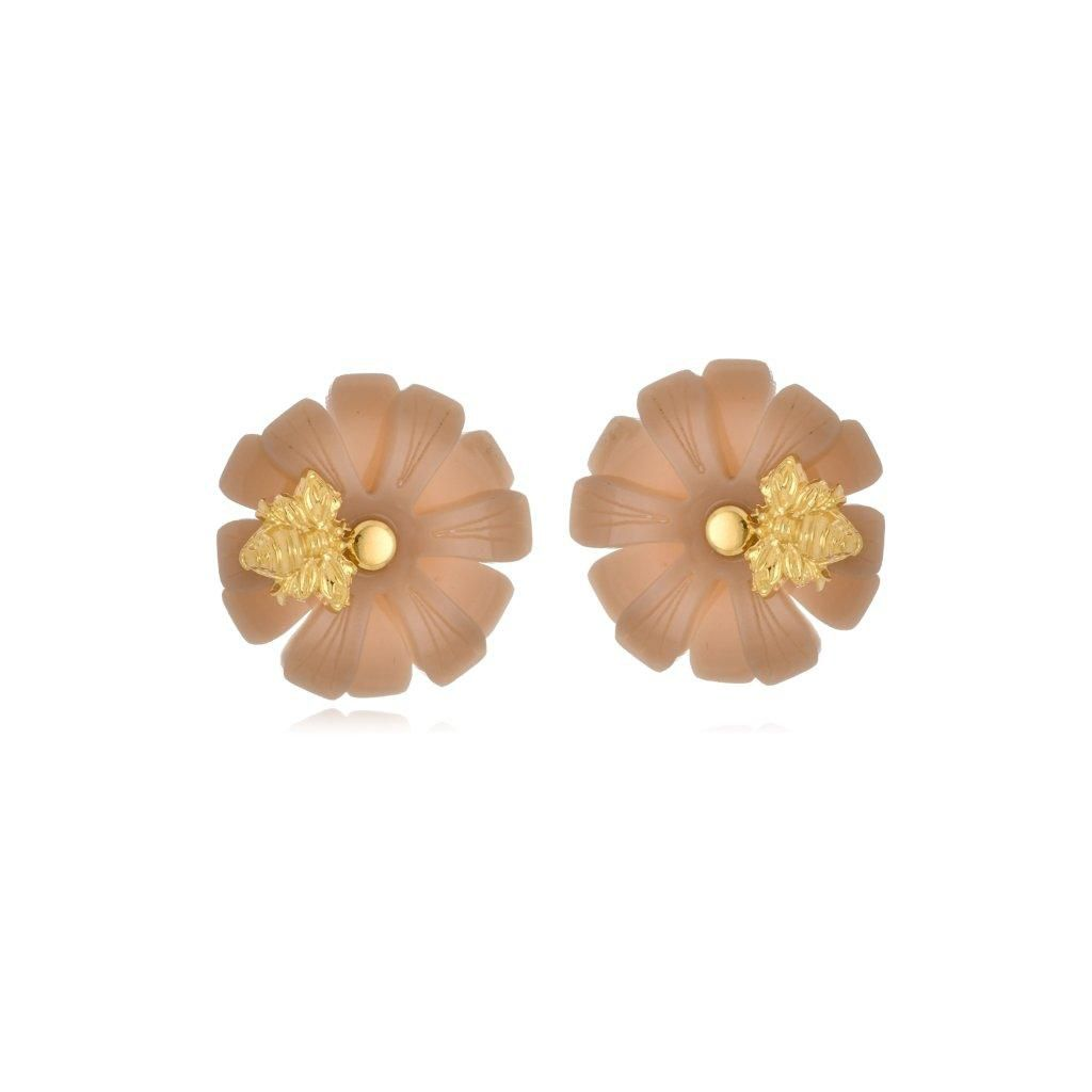 Brinco Le Diamond Flor Pequena com Abelha Marrom