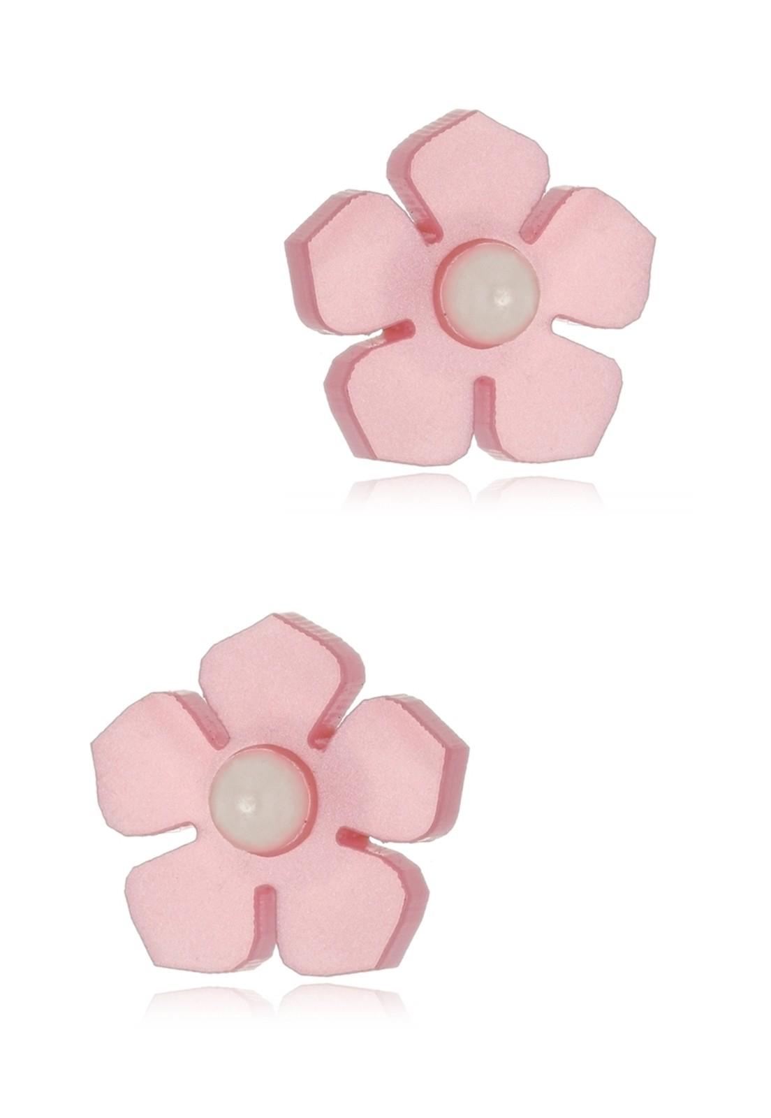 Brinco Le Diamond Flor Rosa com Pérola