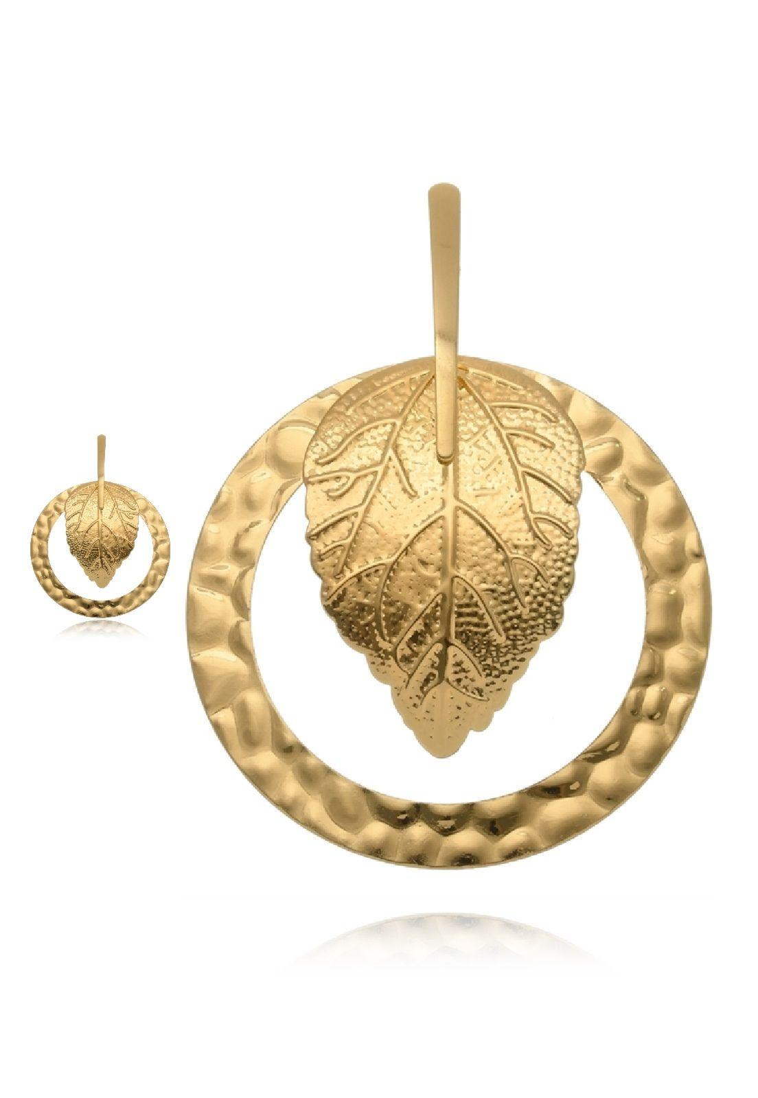 Brinco Le Diamond Folha e Argola Dourado
