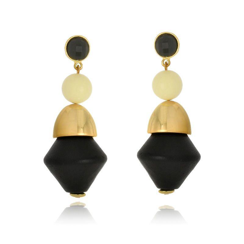 Brinco Le Diamond formas geométricas madeira e resina preto