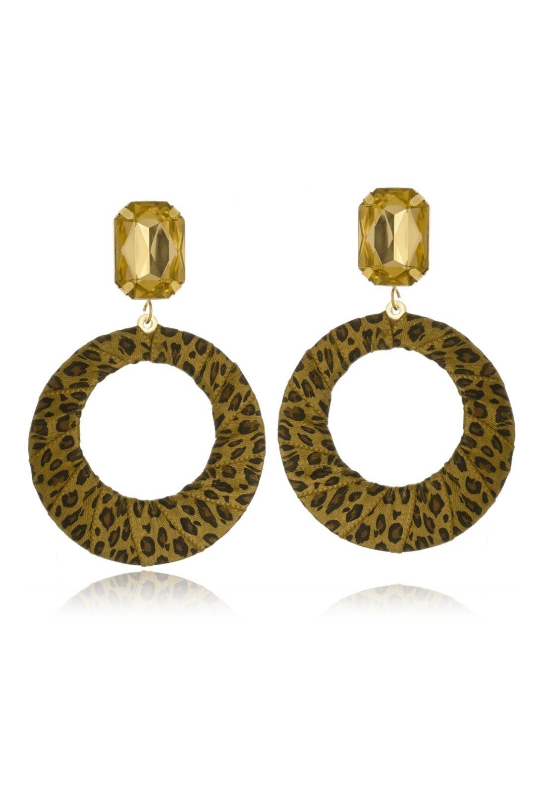 Brinco Le Diamond Geométrico Animal Print Dourado