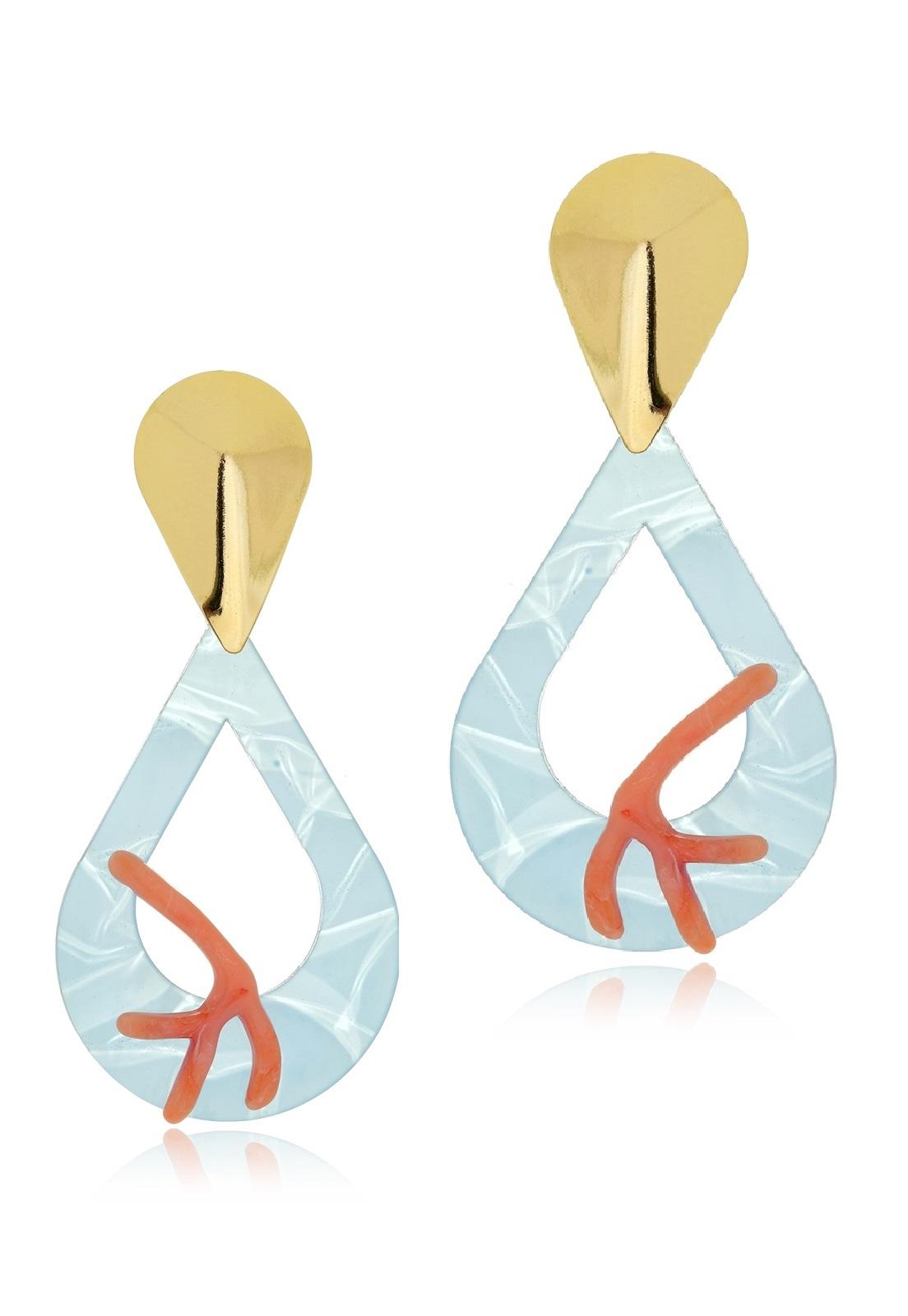 Brinco Le Diamond Gota com Corais Azul.