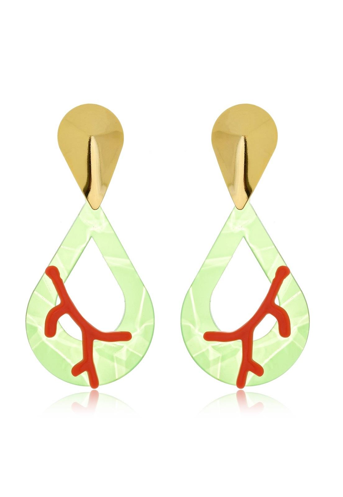 Brinco Le Diamond Gota com Corais Verde