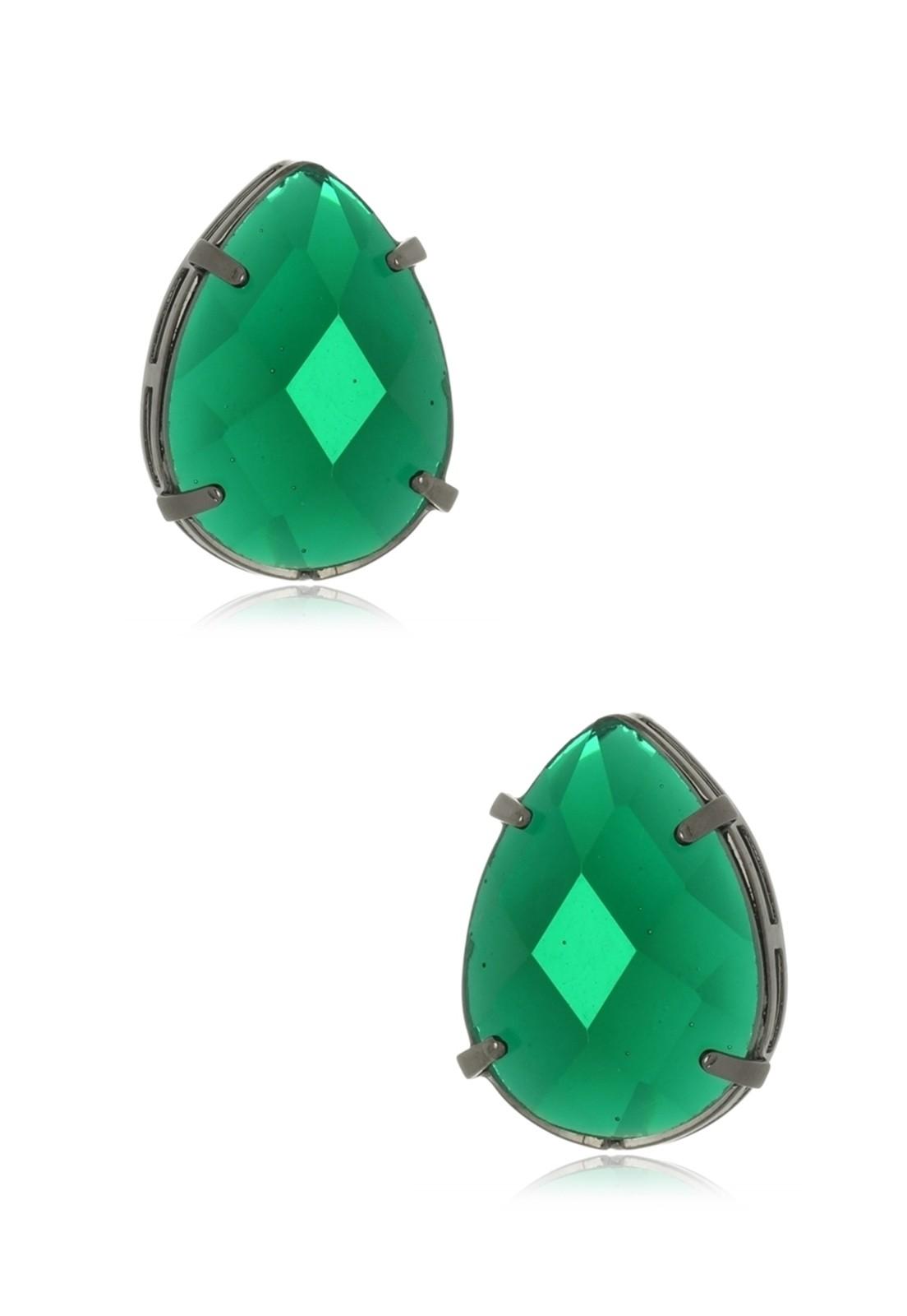 Brinco Le Diamond Gota em Resina Verde