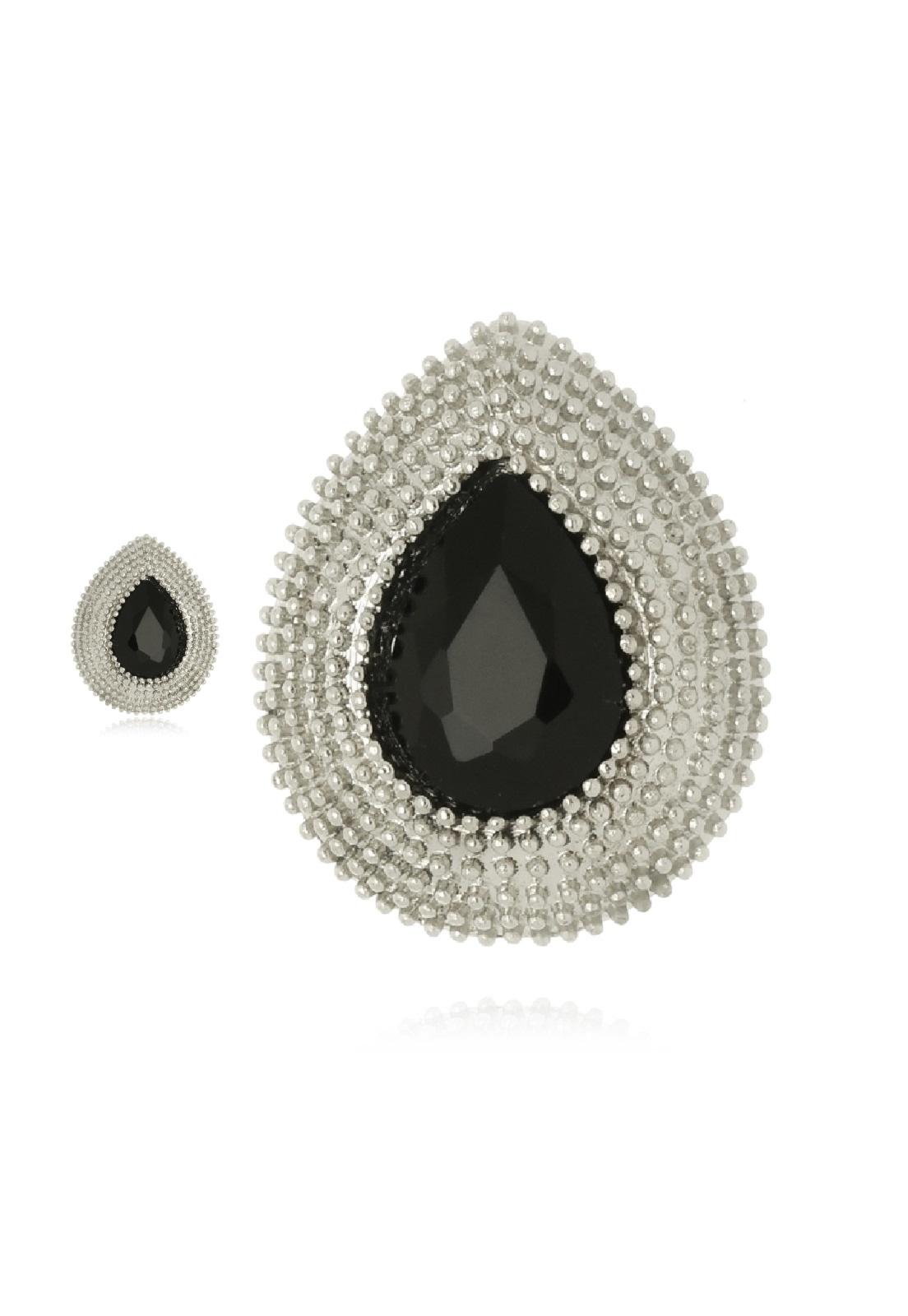 Brinco Le Diamond Gota Prateado com Cristal Lapidado Preto