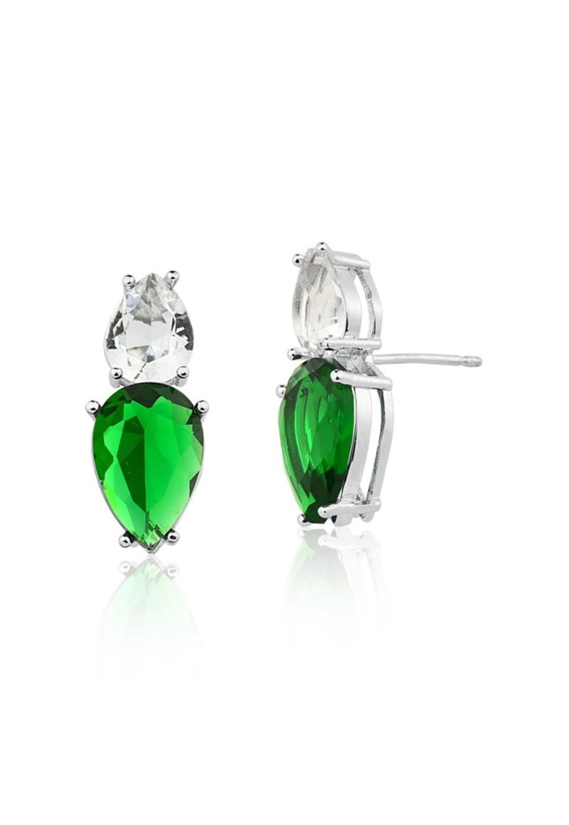 Brinco Le Diamond Gotas Verde