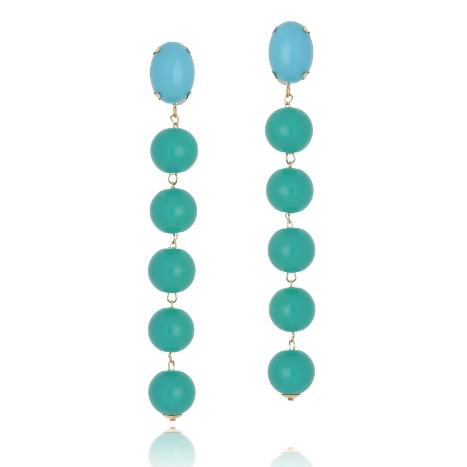 Brinco Le Diamond Janaina Azul Turquesa