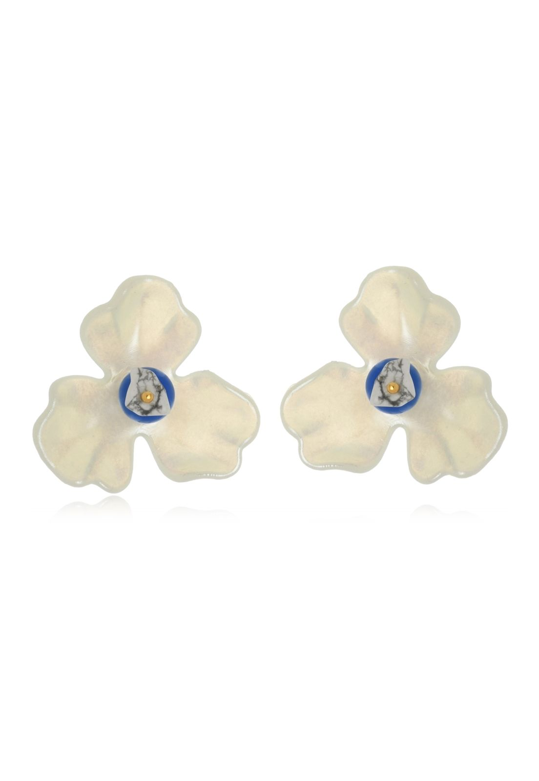 Brinco Le Diamond Madrepérola Flor de Resina Azul