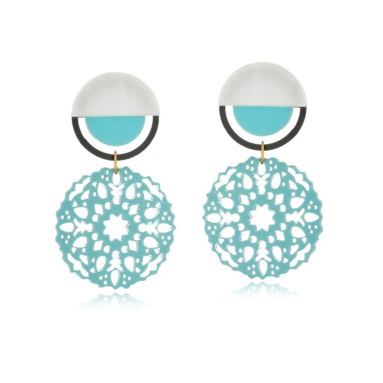 Brinco Le Diamond Mandala Baquelite Azul Turquesa