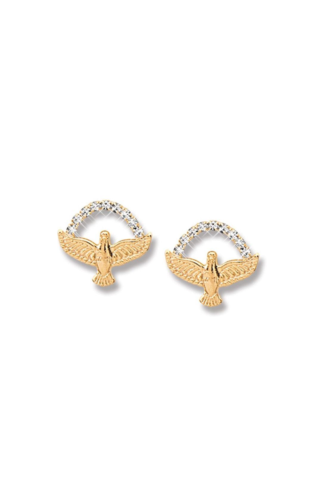 Brinco Le Diamond Mini Espirito Santo e Zircônias Dourado