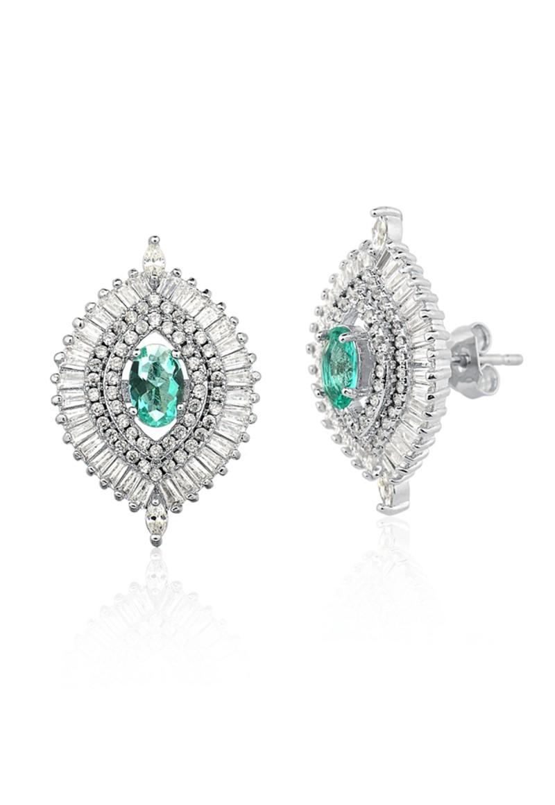 Brinco Le Diamond Navetes e Pedra Verde Prata