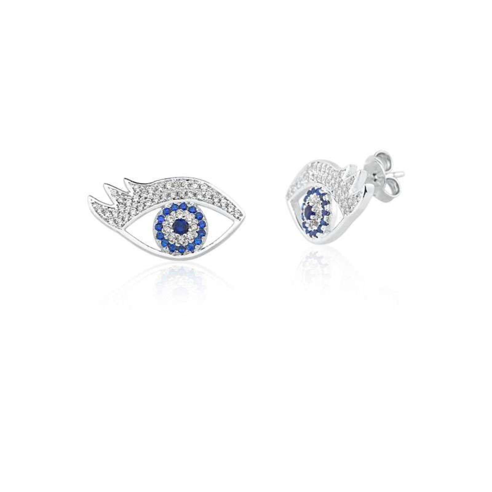 Brinco Le Diamond Olho de Zircônia Azul