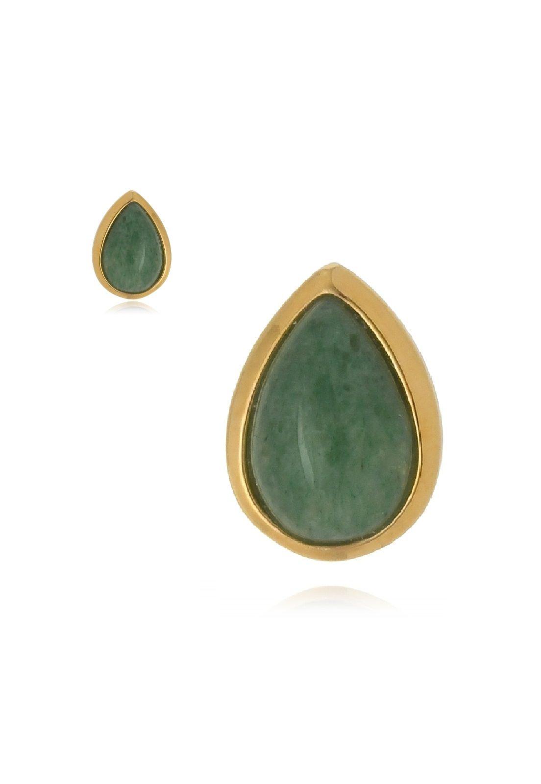 Brinco Le Diamond Pedra Natural Jade Gota Verde