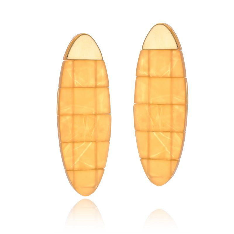 Brinco Le Diamond Peixe Acrílico Com Ponta De Metal Amarelo