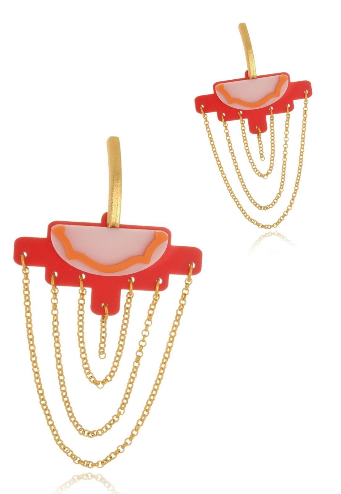 Brinco Le Diamond Pendulo Acrílico Vermelho