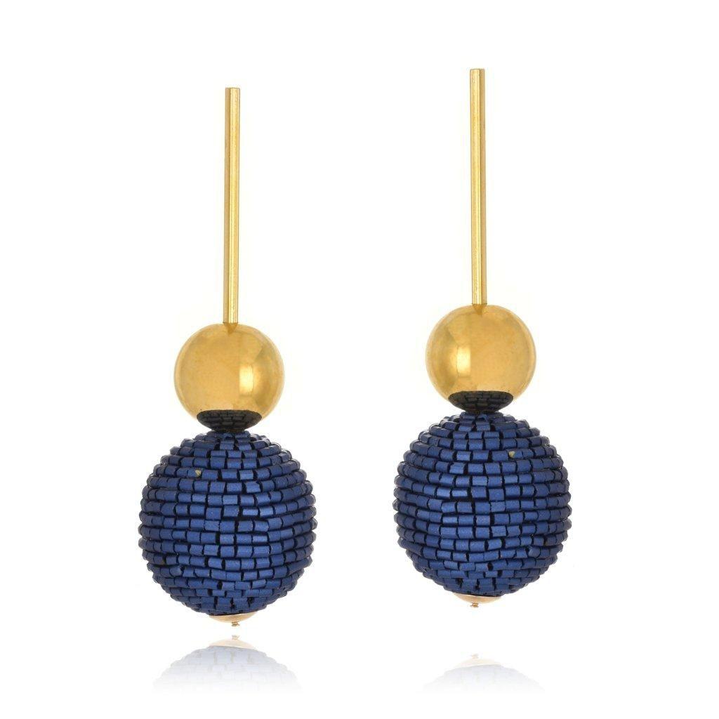 Brinco Le Diamond Pendulo com Esferas Azul