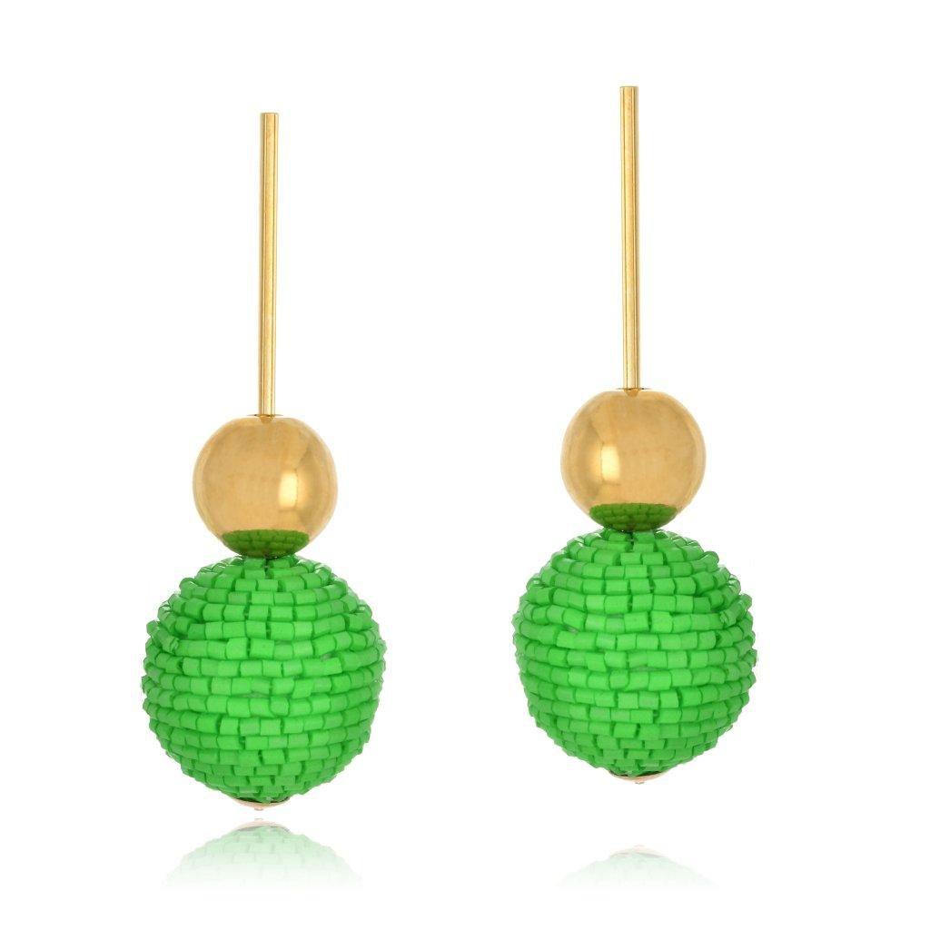 Brinco Le Diamond Pendulo com Esferas Verde