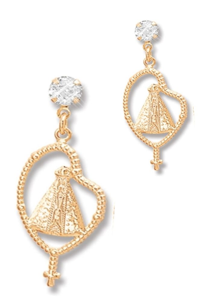 Brinco Le Diamond Pingente Nossa Senhora Aparecida Dourado