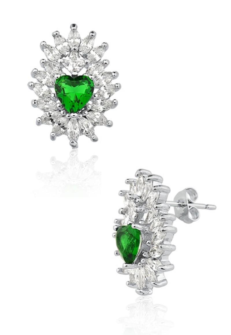 Brinco Le Diamond Sagrado Coração Verde