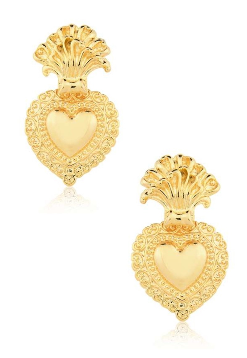 Brinco Le Diamond Sagrado Coração Dourado